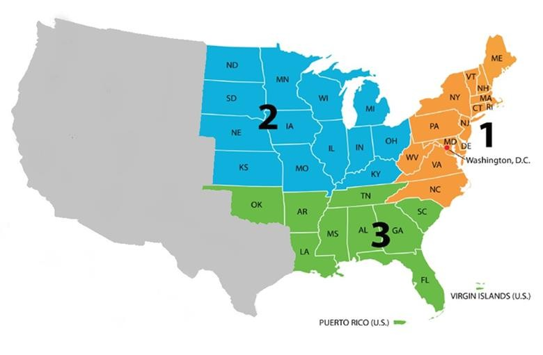 Map of go-live regions for VA CCN Training